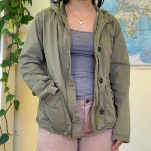 Army green utility military jacket women's